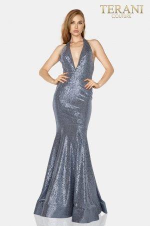 Metallic halter neck prom gown – 2011P1089
