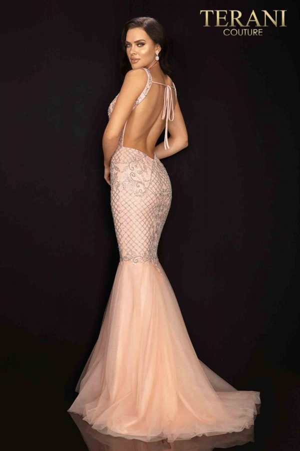 Beaded bodice sleeveless prom gown with tulle skirt – 2011P1120