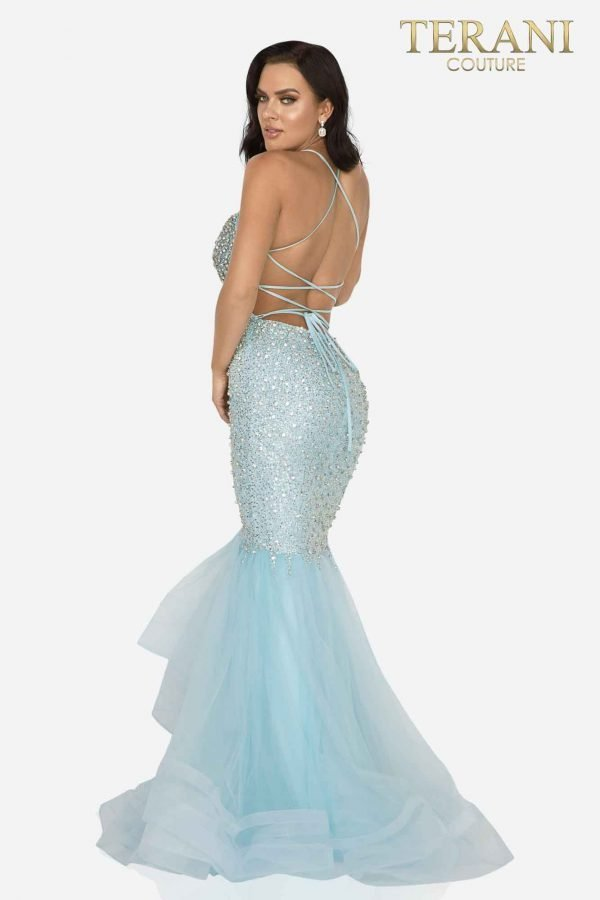 Crystal beaded sexy fitted mermaid prom gown -2011P1143