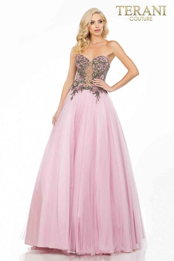 Sweetheart neckline prom ball gown with beaded flowers – 2011P1149