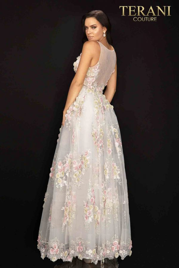 Floral v-neckline tulle long prom ball gown- 2011P1171