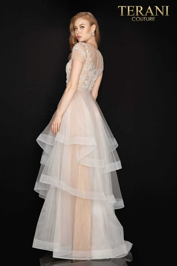 Sheer embroidered and beaded prom dress with layered tulle skirt – 2011P1175