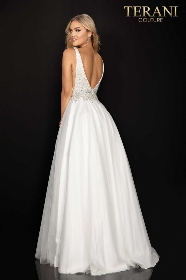 Pearl and crystal -neckline prom ball gown – 2011P1178