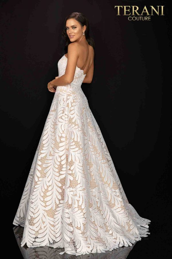 Palm leaf embroidered strapless prom ball gown-2011P1183