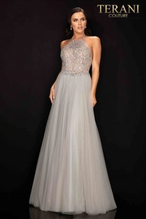 Crystal beaded halter neck ball gown – 2011P1199