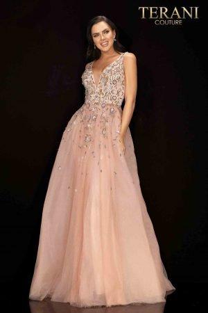 Sleeveless v-neckline prom gown – 2011P1205