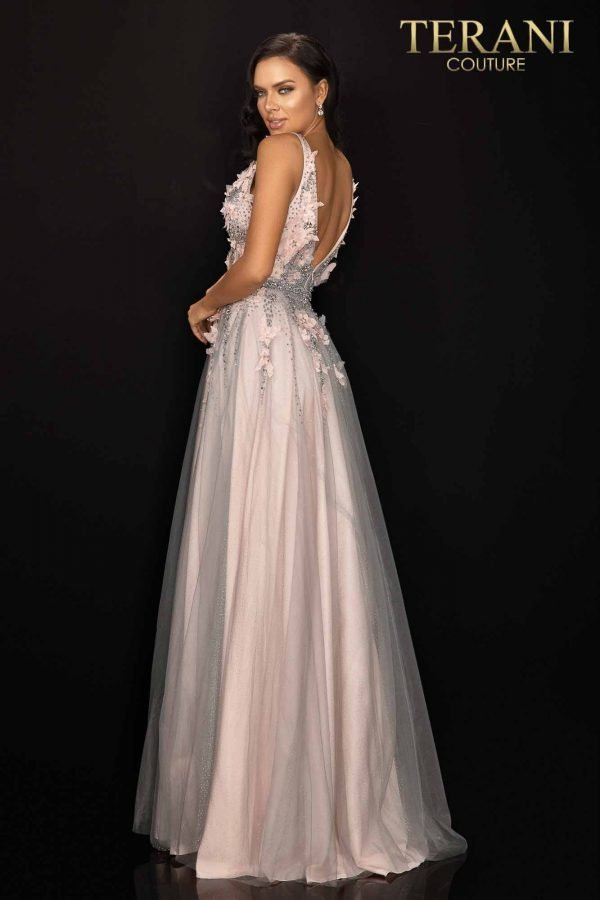 Two tone floral glitter tulle prom gown-2011P1207