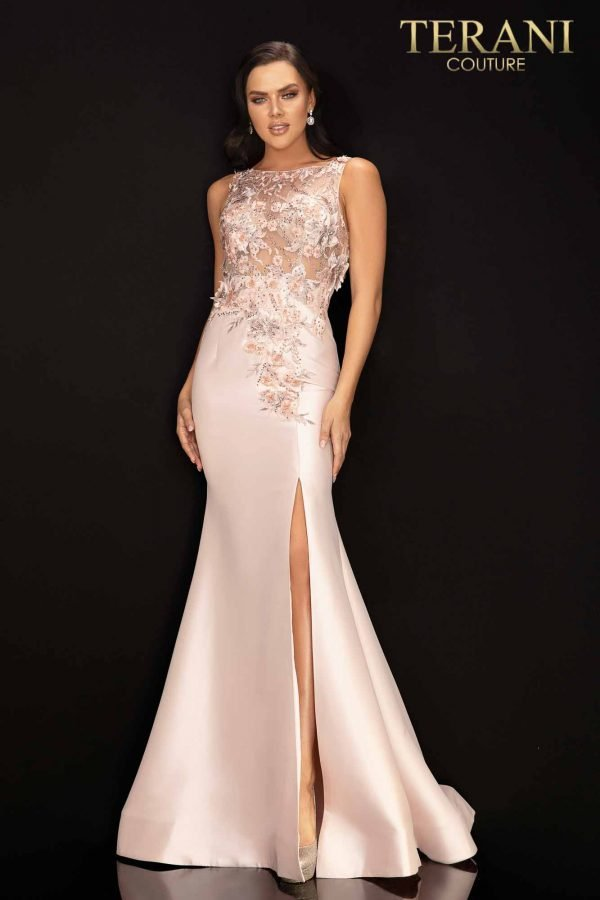 Sleeveless illusion prom gown with 3D flowers and slit – 2011P1467