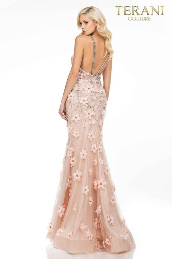 Sexy v-neckline prom gown with 3D flowers – 2011P1472
