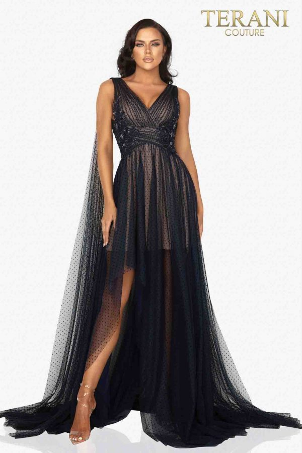 Dainty rouched dotted tulle evening gown with shoulder trains – 2012E2273