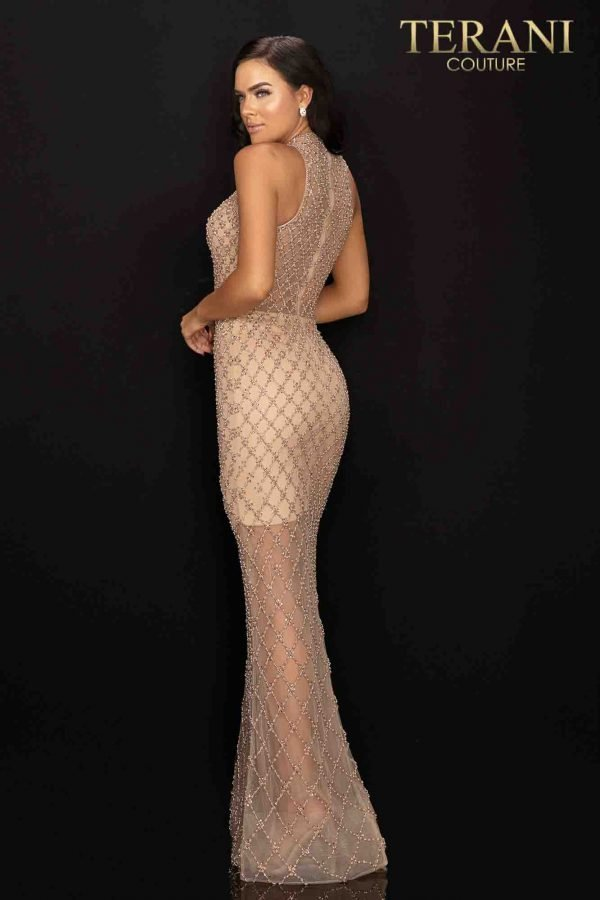 Window pane beaded nude sheer illusion evening gown – 2012GL2375