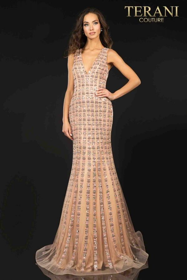 Figure hugging, mermaid, evening gown with linear beading – 2012P1285