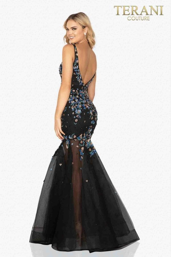 Sequin mermaid prom gown with a sheer bottom – 2012P1357