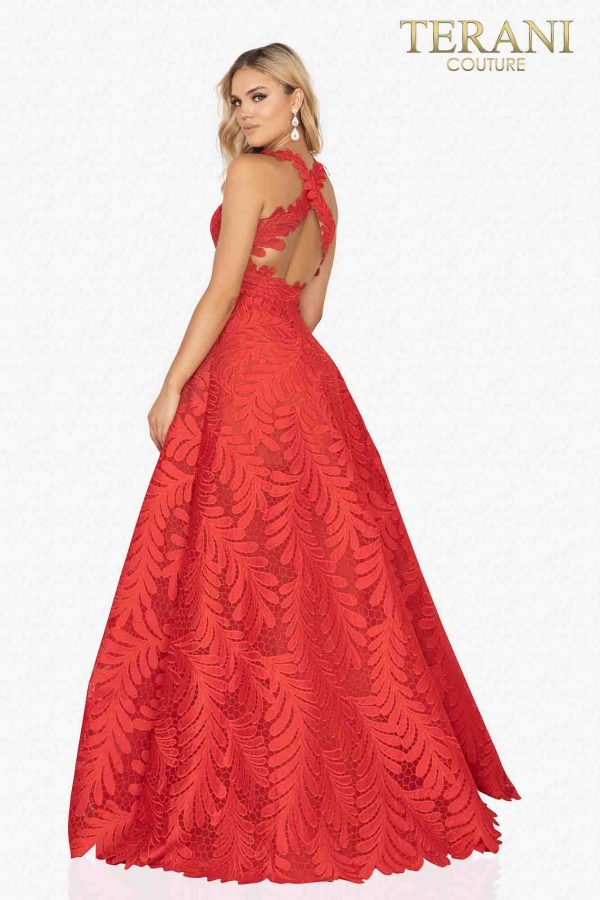 Palm leaf embroidered prom ball gown with cross back-2012P1407