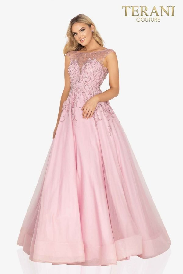 Cap sleeve illusion formal prom ball gown- 2012P1411