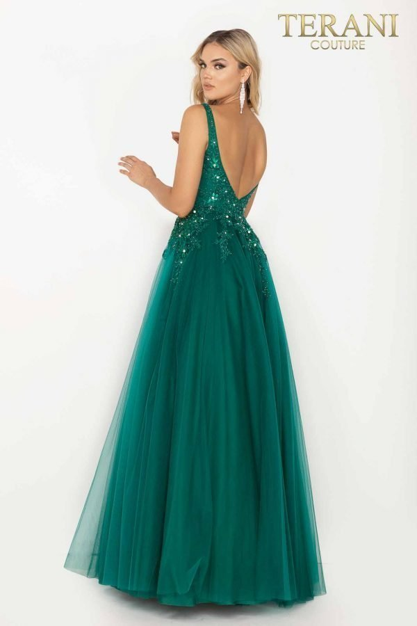 Bead covered v-neckline bodice prom gown with tulle skirt – 2012P1412