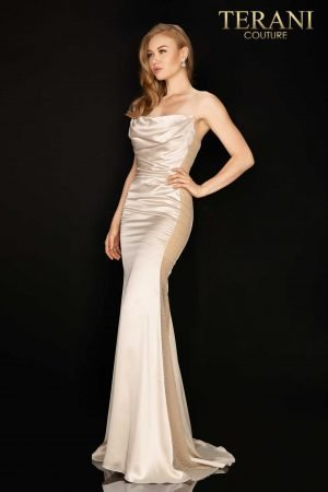 Charmeuse form fitting prom gown with beaded panels – 2015P1461
