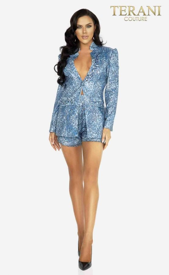 Jacket shorts set in sequin leopard print with beaded accents -2017E2301