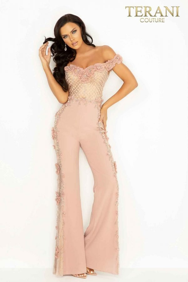Romantically beaded Crepe evening jumpsuit with 3D flowers – 2017E2305