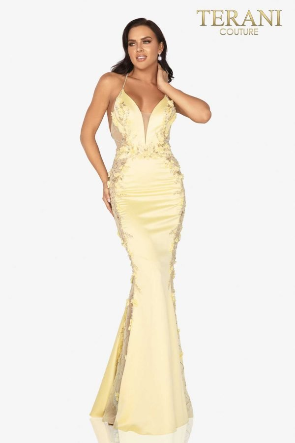 Open-back evening gown with beaded 3D flower sheer sides – 2017P1307
