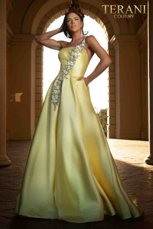 One shoulder Mikado ball gown with floral ribbon embroidery – 2017P1421