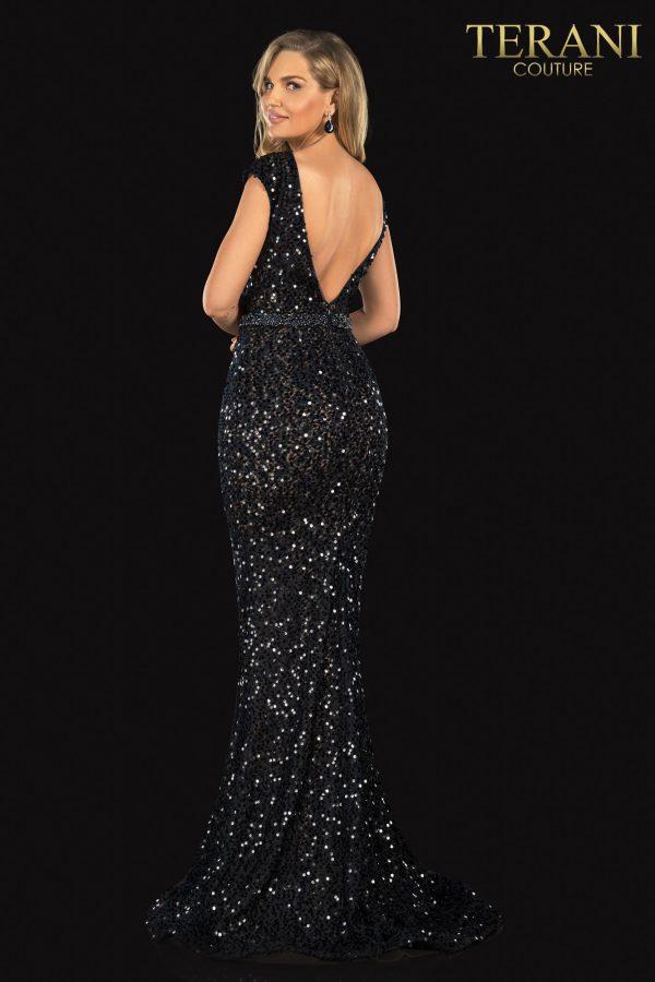 Evening Sequin Lace Scoop Neck, Bead Belt – 2021E2817