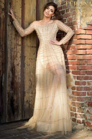 Pageant Strapless Long Sleeve Stripe Beaded, Sheer Skirt – 2021GL3159