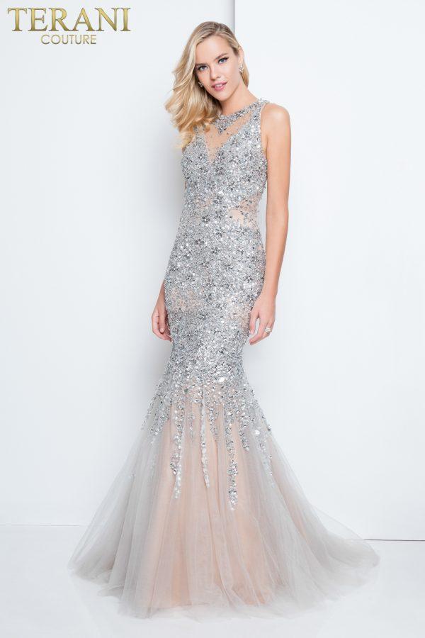 Intricately Beaded Silver Mermaid Prom Dress – 1811P5512