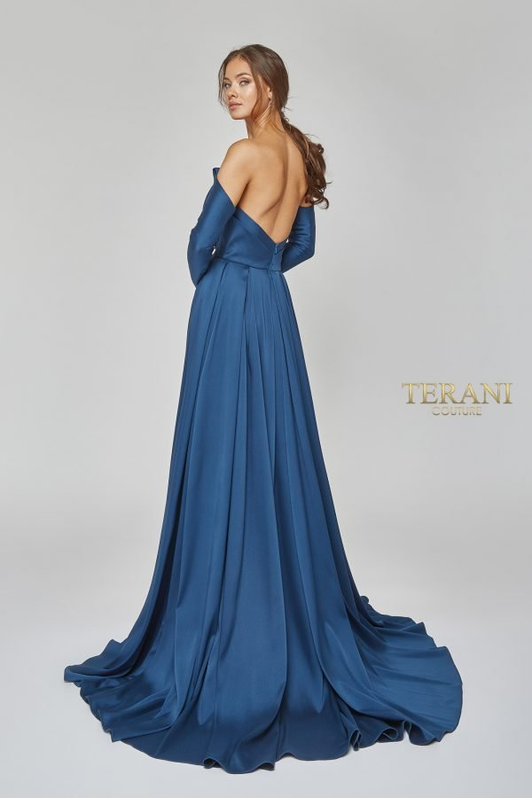 Strapless Gown With Wrap Skirt And Separate Sleeves – 1921E0143