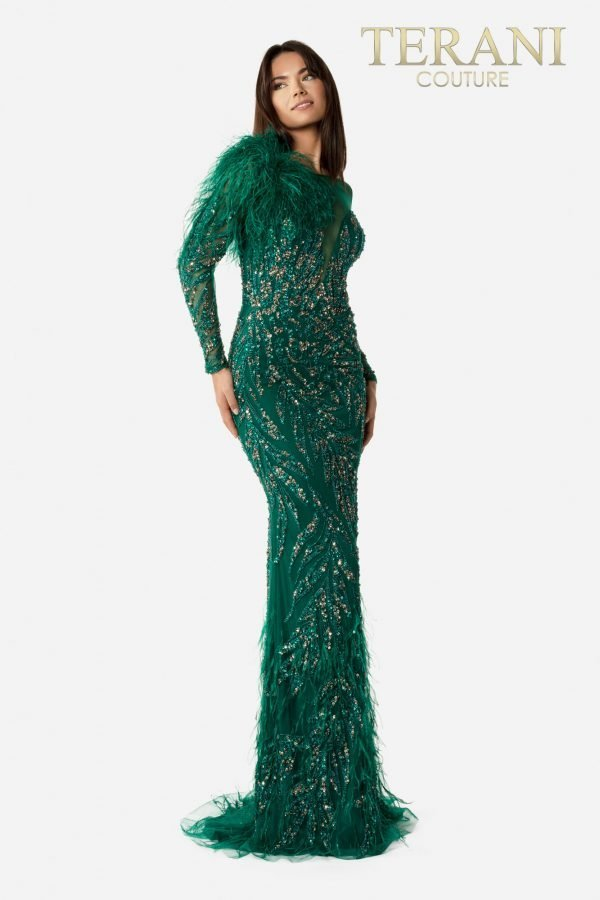 Full Length Glittery Hunter Pageant Gown – 2021GL3139