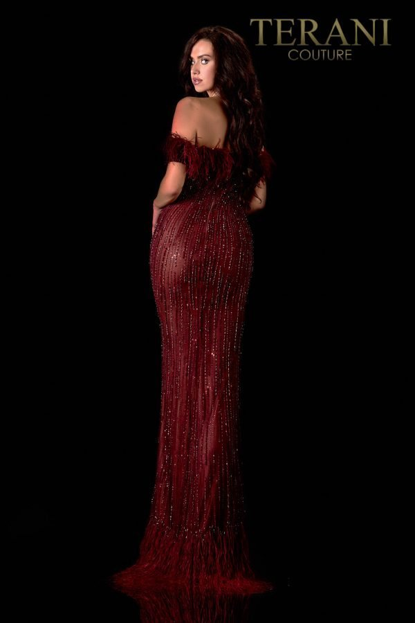 Off-Shoulder Wine Rose Pageant Gown – 2021GL3156