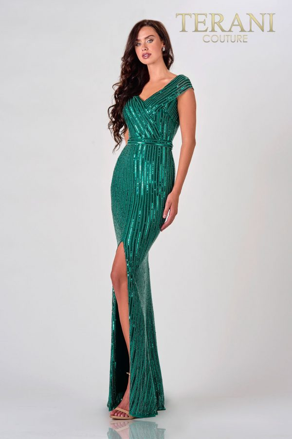 Hunter Green Mother Of The Bride Dress With Sequins – 2021M2980