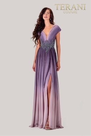 Pleated Purple Ombre Mother Of The Bride Dress – 2027M3091