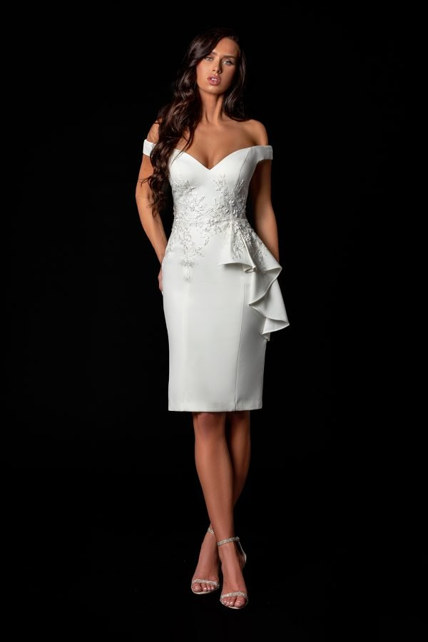 Chic White Cocktail Dress With Draping On One Side – 2111C4552