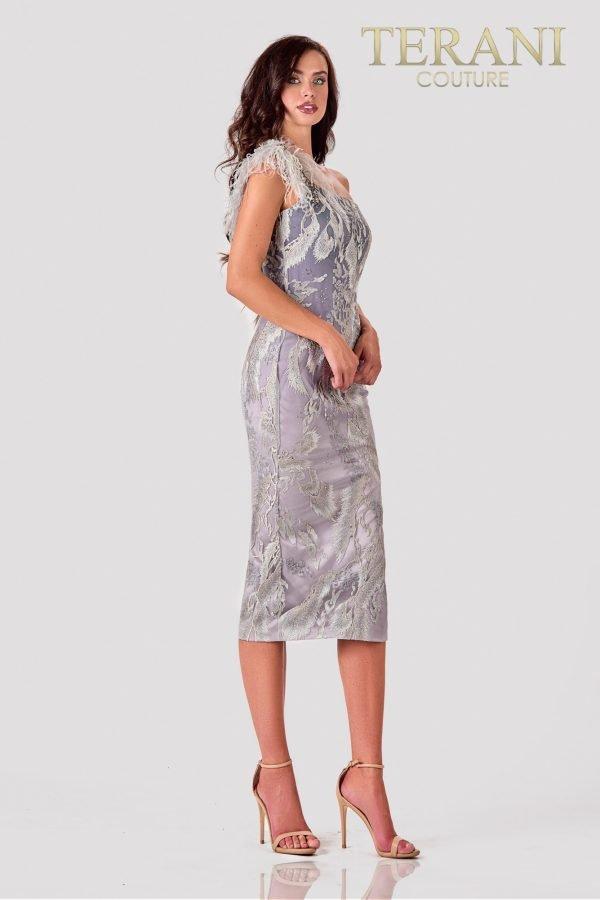 One Shoulder Silver Cocktail Dress – 2111C4557