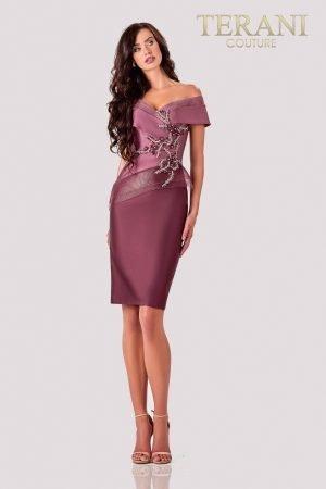 Knee Length Mauve Wine Cocktail Dress – 2111C4560