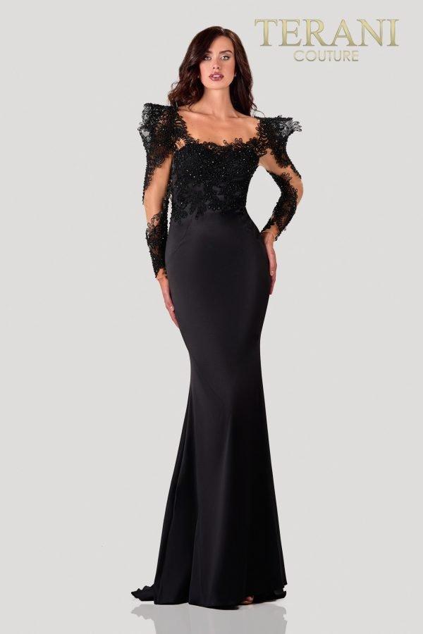 Beaded Fancy Black Nude Evening Dress – 2111E4721