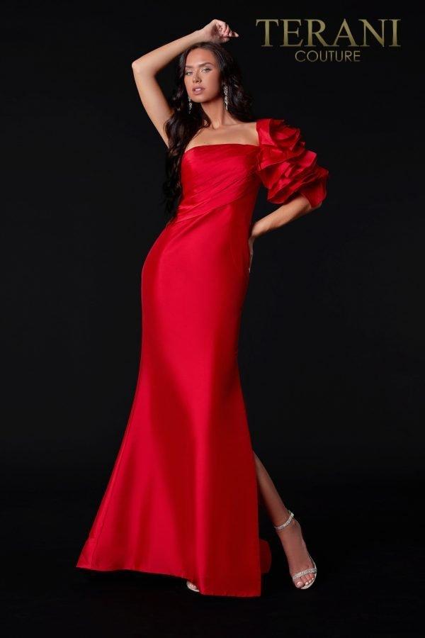 One Shoulder Red Evening Dress – 2111E4727