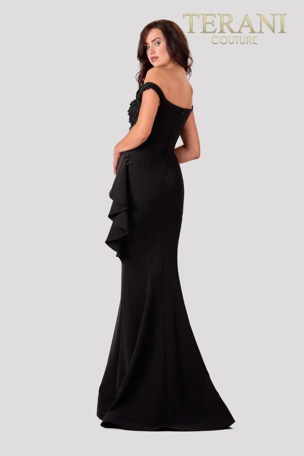 Black Off-Shoulder Evening Dress With Asymetric Drape – 2111E4732