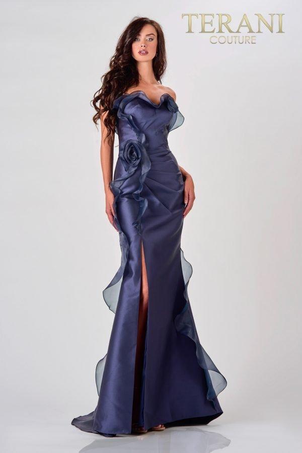 Elegant Navy Evening Dress With Frills – 2111E4743