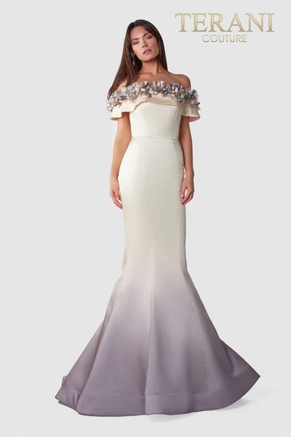 Off Shoulder Cream Champagne Dress – 2111E4749