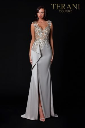 Taupe Evening Dress With Sheer Embellished Top – 2111E4751