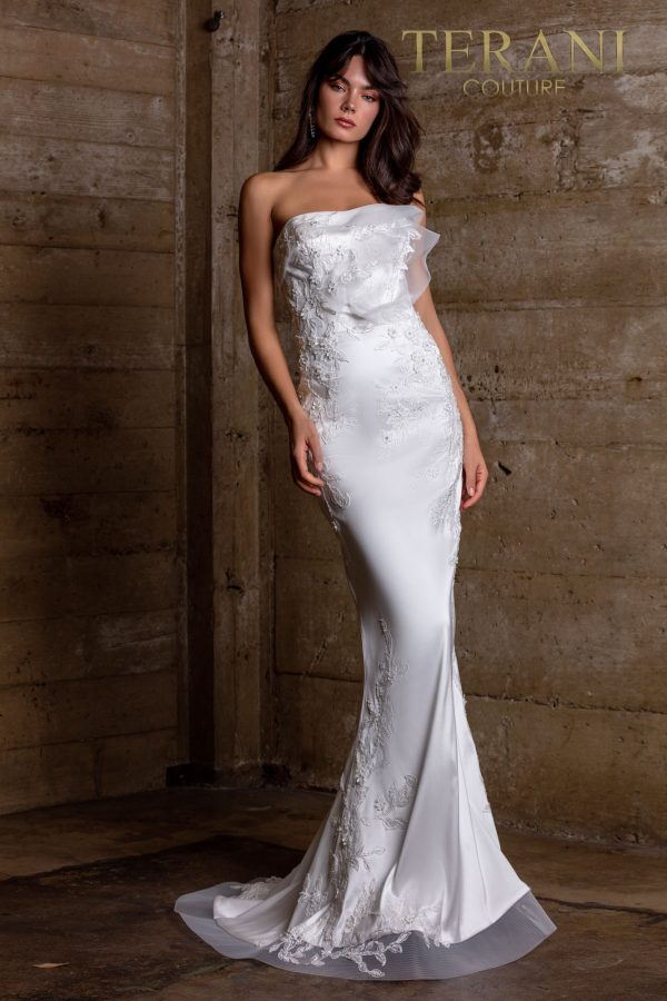 Strapless Ivory Evening Dress With Embroidery – 2111E4759