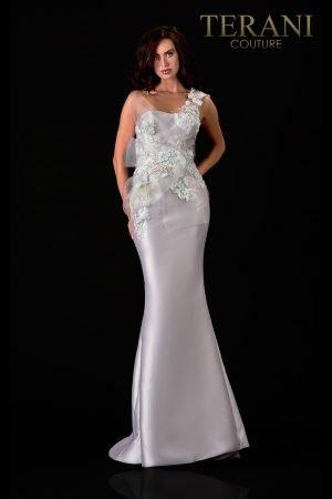 One Shoulder Satin Silver Sage Evening Dress – 2111E4760