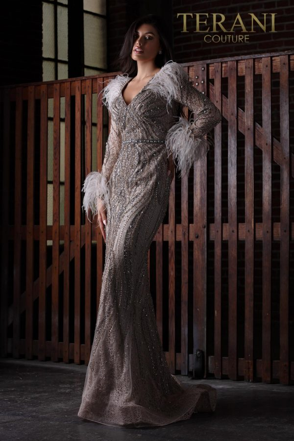 Glitz And Glam Pageant Gown With Feather - 2111GL5024
