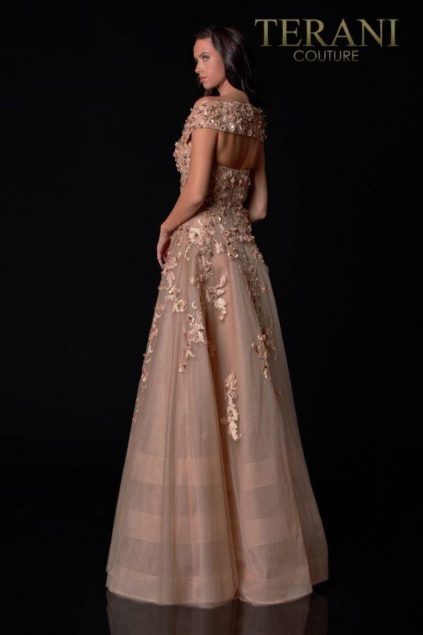 Off-Shoulder Light Mocha Mother Of The Bride Dress – 2111M5265