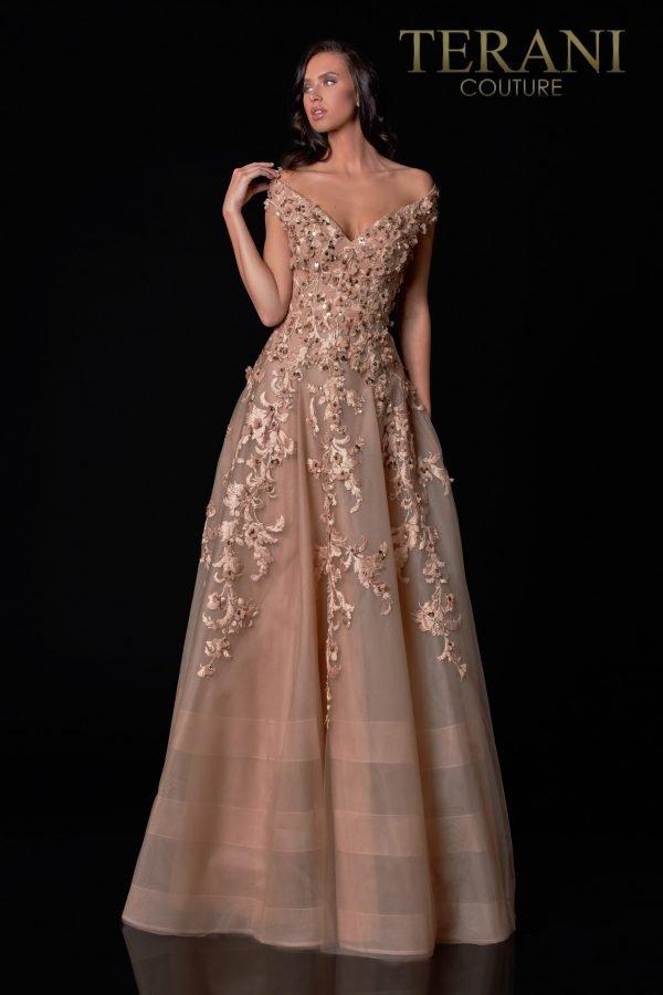 Off-Shoulder Light Mocha Mother Of The Bride Dress - 2111M5265