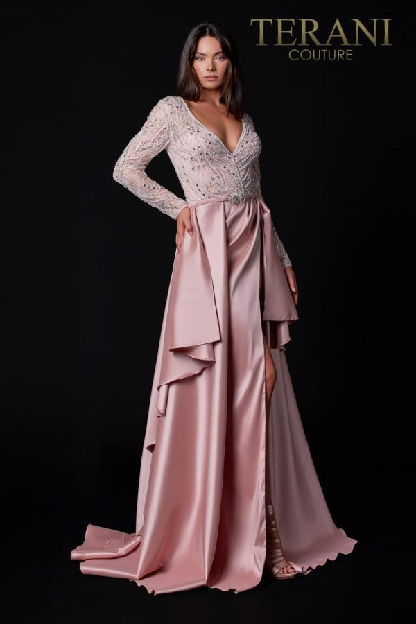 Rose Mother Of The Bride Dress With Crystals And Embroidery – 2111M5273
