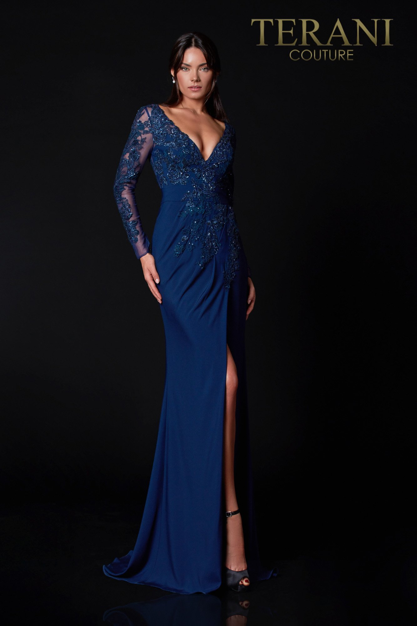 Navy Mother Of The Bride Dress With Applique - 2111M5275