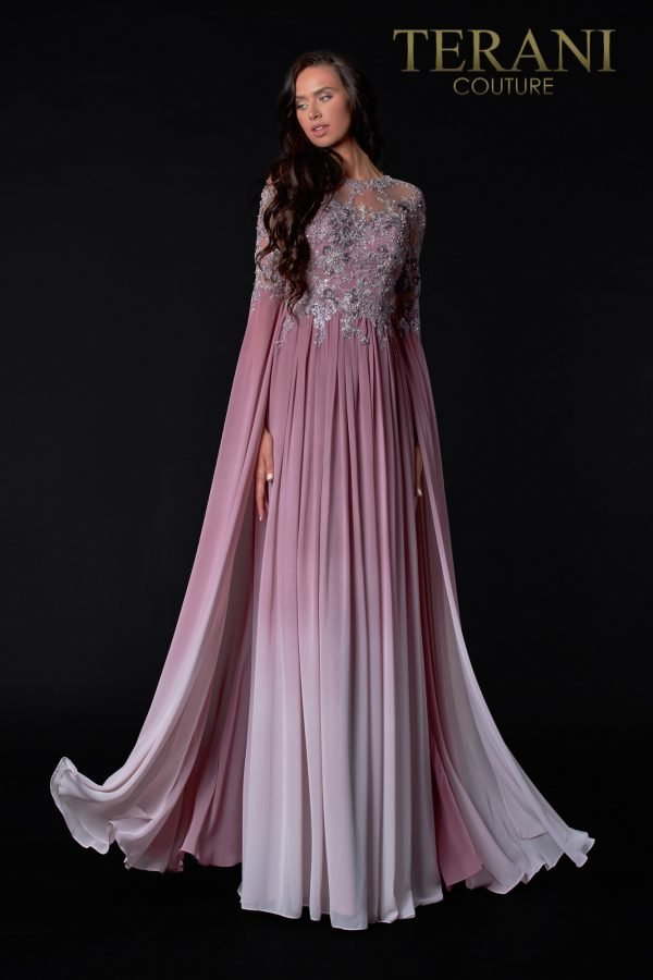 Full Sleeve Rose Ombre Mother Of The Bride Dress - 2111M5282